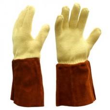 DELTAPLUS вязанные из кевларовой нити жаропрочные перчатки с кожанной манжетой (35см)