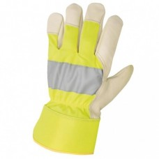 Leather gloves with reflective stripes