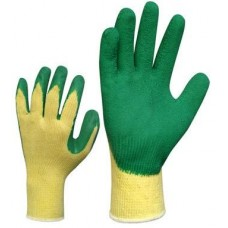 Knitted cotton gloves with latex coating