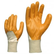Knitted cotton gloves with nitrile coating