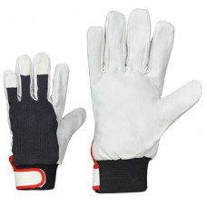 Winter gloves of smooth pig leather with adjustable cuffs
