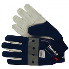 Winter leather gloves with elasticated cuffs