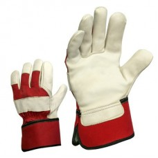 Winter leather gloves with reflective stripes