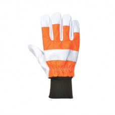 Chainsaw protective gloves with elasticated cuffs