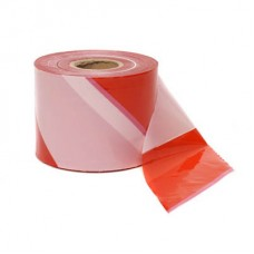 White and red hazard warning marking tape (200m)